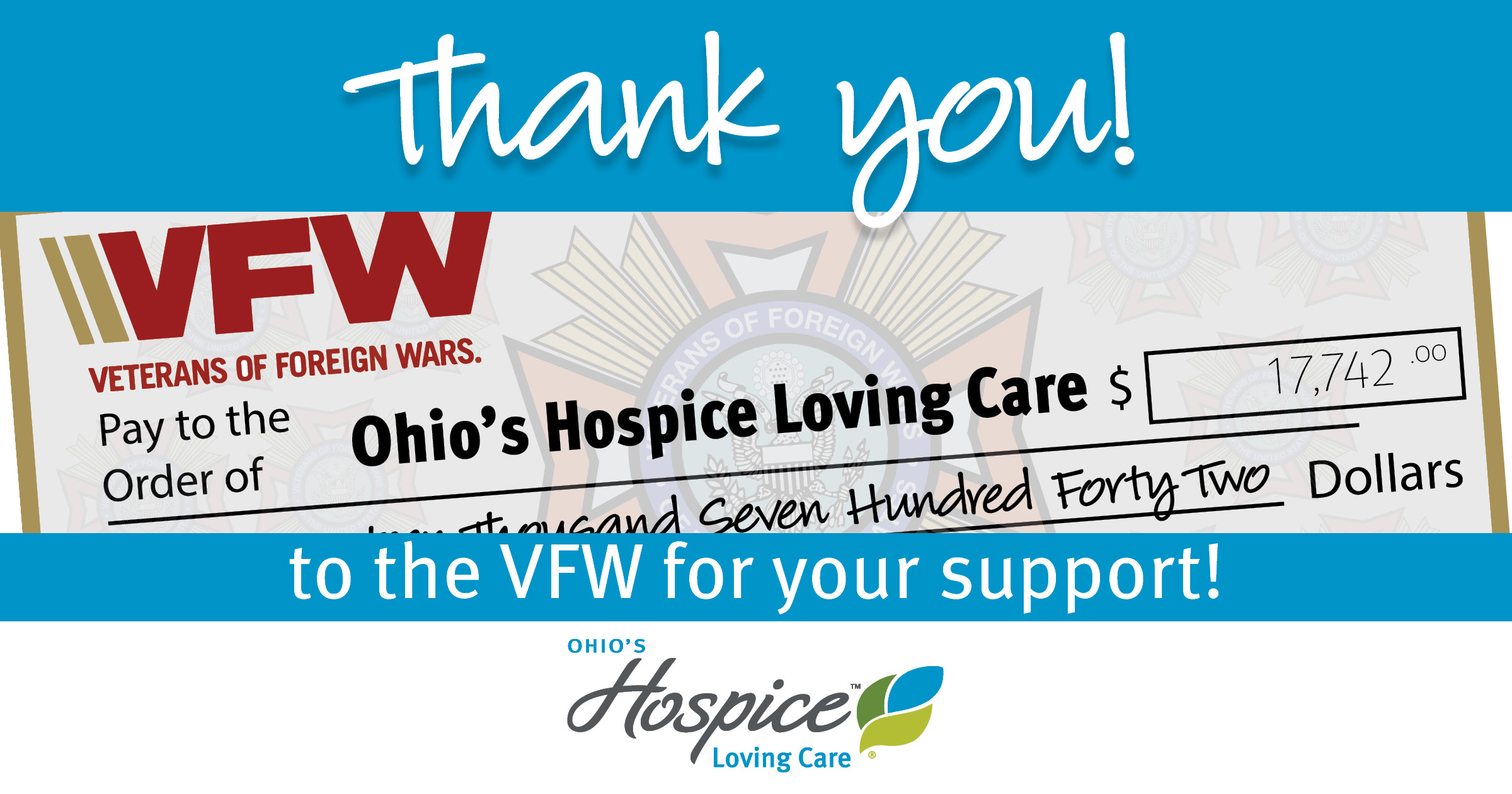 Thank You To The VFW For Your Support!
